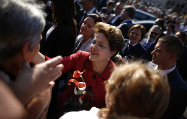 Brazil's President Rousseff meets with well-wishers during her visit in the town of Gabrovo