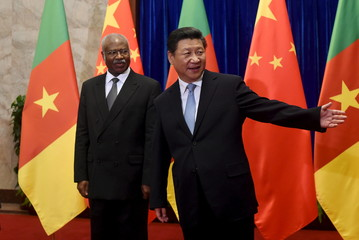 Cameroon's Prime Minister Yang is welcomed by Chinese President Xi before their meeting at the Great Hall of the People in Beijing