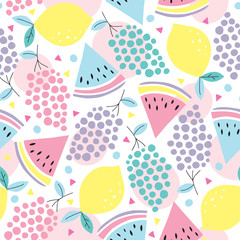 seamless summer fruits pattern vector illustration