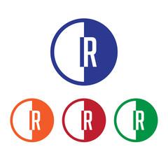 IR initial circle half logo blue,red,orange and green color
