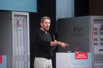 Oracle Corp CEO Ellison introduces the Oracle Database In-Memory during a launch event in Redwood Shores