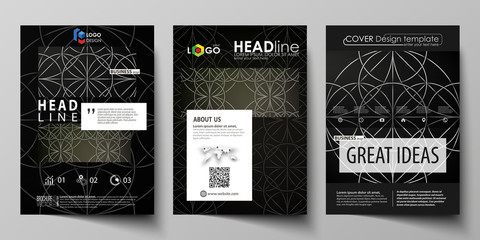 Business templates for brochure, magazine, flyer, booklet, report. Cover design template, vector layout in A4 size. Celtic pattern. Abstract ornament, geometric vintage texture, medieval ethnic style.