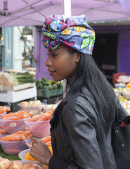 Woman at a fruit market