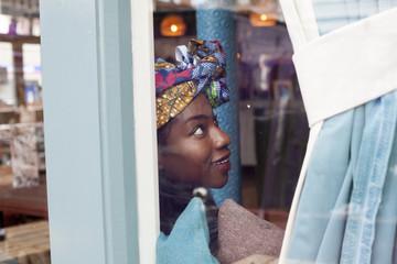 Woman inside a cafe