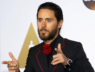 Presenter Jared Leto poses backstage at the 88th Academy Awards in Hollywood, California