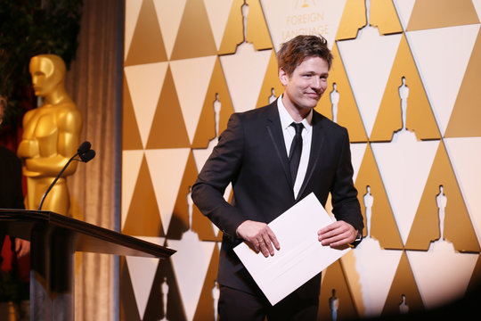 Director Vinterberg accepts his nomination certificate at the 86th Academy Awards Foreign Language Nominee Reception at Ray's and Stark Bar on the LACMA Campus in Los Angeles