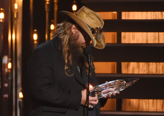 Chris Stapleton accepts the award for Male Vocalist of the Year at the 49th Annual Country Music Association Awards in Nashville