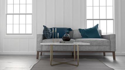 Sofa und Couchtisch in ländlichem Wohnzimmer