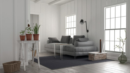 Cosy rustic white wood living room interior