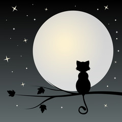 Silhouette of black  cat on the tree looks  with full moon