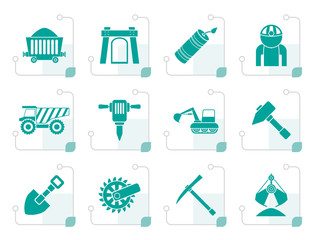 Black Mining and quarrying industry objects and icons - vector icon set