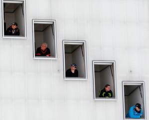Judges follow the trial jump of the second event of the four-hills ski jumping tournament in Garmisch-Partenkirchen