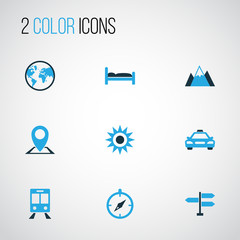 Journey Colorful Icons Set. Collection Of Earth, Map Pin, Mountains And Other Elements. Also Includes Symbols Such As Compass, Car, Summer.