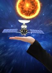 satellite solar panel on hand of businesswoman. Space