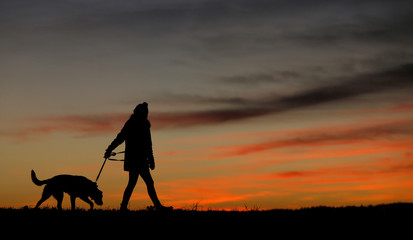 Woman walking her dog is silhouetted against the sky at sunset in Pflaumdorf