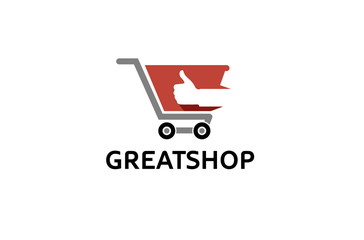 Cart Shop Thumb Logo Design Illustration