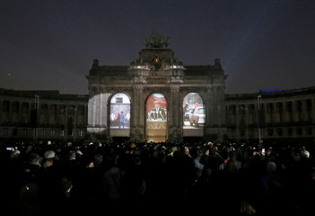 """The video mapping """"Sounds and Lights of Unity"""" is projected on the Arcades of Cinquantenaire to celebrate the 25th anniversary of German reunification, in Brussels"""