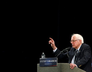 Democratic presidential candidate Bernie Sanders speaks at a campaign rally in Raleigh, North Carolina