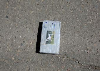 A packets of drug is pictured at the Bolivian police headquarter in La Paz