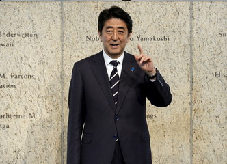 Japan's Prime Minister Shinzo Abe arrives at a reception at the Japanese American National Museum in Los Angeles