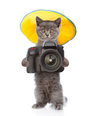 Cat photographer in summer hat taking pictures. isolated on white background