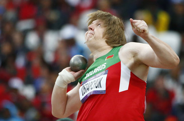 Belarus' Nadzeya Ostapchuk competes in the women's shot put final at London 2012 Olympic Games