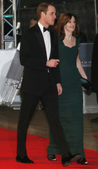 Britain's Prince William arrives at the British Academy of Film and Arts (BAFTA) awards ceremony at the Royal Opera House in London