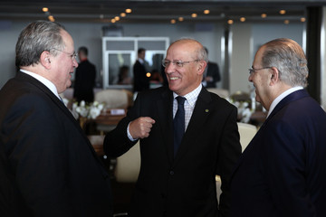Cyprus FM Ioannis Kasoulides, Portugal's FM Augusto Santos Silva and Greek FM Nikos Kotzias attend a Ministerial Meeting of the Mediterranean Group (Med Group) in Limassol