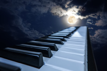 piano keys in moonlight