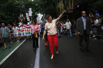 New York mayoral candidate Christine Quinn marches in the Gay Pride Parade in New York