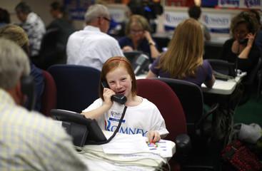 Campaign volunteers make phone calls on behalf of U.S. Republican presidential candidate Romney in Lakewood