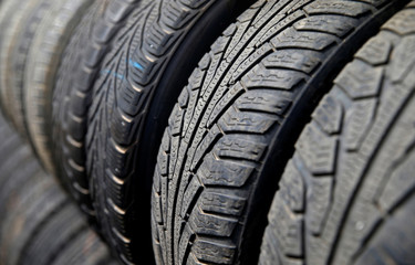 Used car tires are seen in this picture illustration taken