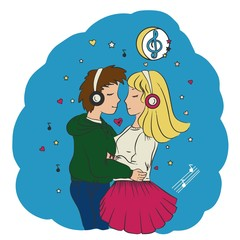 Love guy and girl hugging