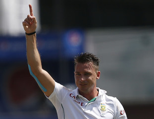South Africa's Steyn celebrates after taking the wicket of Sri Lanka's Kumar Sangakkara (not pictured) during the first day of their second test cricket match in Colombo
