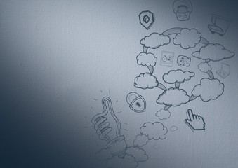 Navy background with cloud doodles