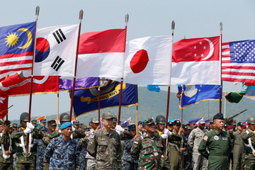 Soldiers from different Asia-Pacific countries attend the opening ceremony of the multilateral military exercise known as Cobra Gold in Chonburi