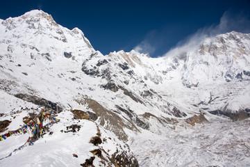 Górski krajobraz bazy pod Annapurną.