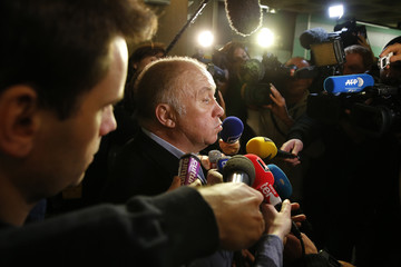 "Dominique Alderweireld, nicknamed ""Dodo la Saumure"", speaks to journalists during a break in the trial in the so-called Carlton Affair, in Lille"