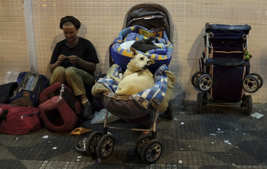 A homeless woman sews a bag next to her dog and two cats in a baby pram along a street in Sao Paulo