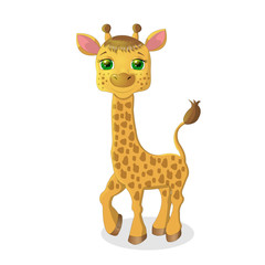 Cute baby giraffe cartoon isolated on white background
