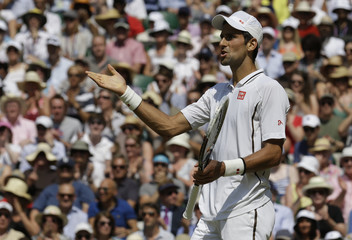 Novak Djokovic of Serbia complains to the umpire in his men's singles final tennis match against Andy Murray of Britain at the Wimbledon Tennis Championships, in London