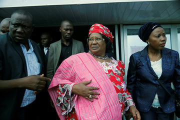 Former President of Malawi Joyce Banda leaves after attending a conference on women in development in Lagos