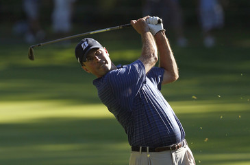 Matt Kuchar of the U.S. hits from the 17th fairway during the final round of the Barclays golf tournament in Paramus