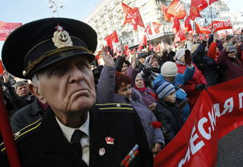 Communist party supporters attend a rally in central Kiev