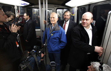 New Democratic Party (NDP) leader Jack Layton rides the metro as he campaigns in Montreal