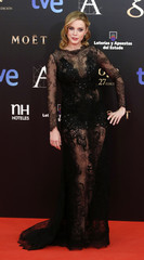 Carolina Bang poses on the red carpet before the Spanish Film Academy's Goya awards ceremony in Madrid