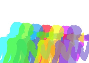 Woman with megaphone silhouettes in colors