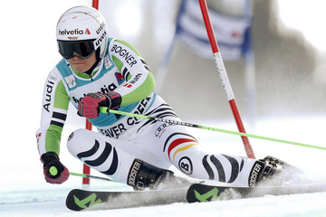 Viktoria Rebensberg of Germany skis to the fourth best time in the first run in the women's World Cup Giant Slalom ski race in Beaver Creek