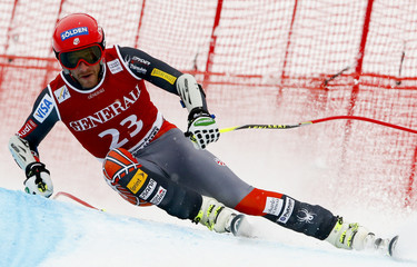 Miller of the U.S. speeds down the famous Streif course during the men's Super G of the FIS Alpine Skiing World Cup at the Hahnenkamm mountain of the Austrian alpine skiing resort Kitzbuehel