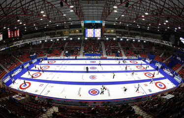 Curlers start the first draw during the first day at Mosaic Place at the Scotties Tournament of Hearts in Moose Jaw.